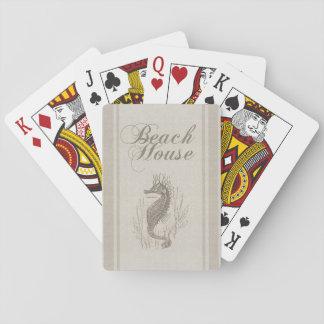 Beach House Seahorse Sandy Coastal Decor Poker Cards