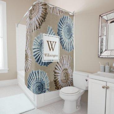 Beach Themed Beach House Spiral Seashells - Family Name Shower Curtain