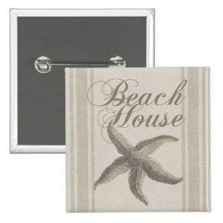 Beach House Starfish Sandy Coastal Decor 2 Inch Square Button