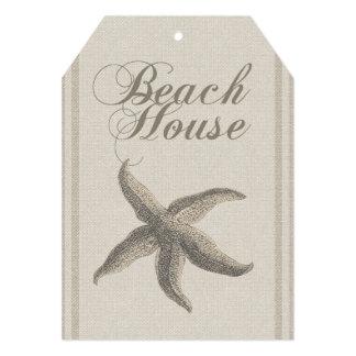Beach House Starfish Sandy Coastal Decor 5x7 Paper Invitation Card