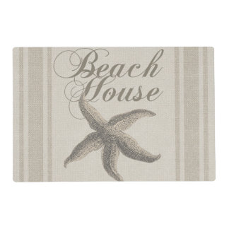 Beach House Starfish Sandy Coastal Decor Laminated Place Mat