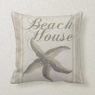 Beach House Starfish Sandy Coastal Decor Throw Pillow