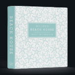 """Beach House Vacation Rental Guest Information 3 Ring Binder<br><div class=""""desc"""">Our coastal chic binder is perfect for sharing and organizing guest information for your vacation rental, beach house or beach cottage. Featuring a summery color palette of turquoise aqua and white, the binder&#39;s front and back are covered in a starfish pattern, with a solid aqua spine. Personalize the front with...</div>"""