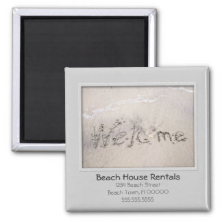 Beach House Welcome 2 Inch Square Magnet