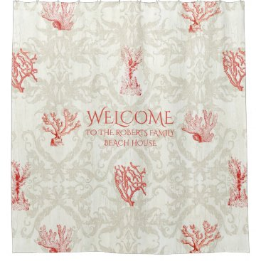 Beach Themed Beach House Welcome Sign Family Name Coral Damask Shower Curtain
