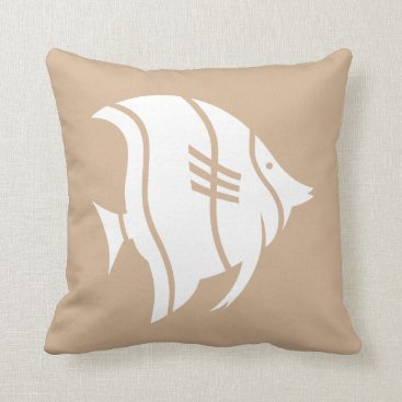Beach Themed Beach house white tropical fish on sandy brown throw pillow