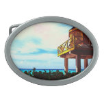 Beach House with Ocean View Oval Belt Buckle