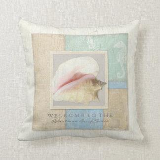 Beach House Wooden Board Conch Shell Seahorse Throw Pillow