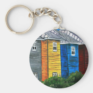 beach houses drawing illustration art gifts keychain