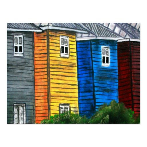 Beach houses drawing illustration art gifts postcard zazzle for Beach house drawing