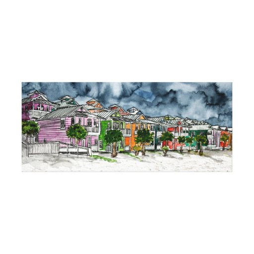 beach houses pen and ink drawing watercolor art canvas print
