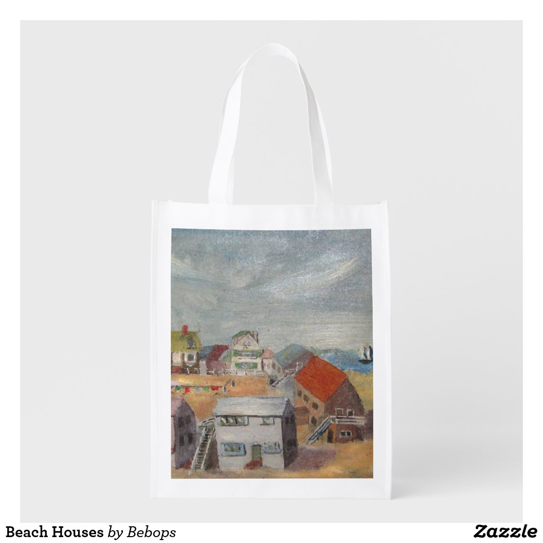 Beach Houses Reusable Grocery Bag