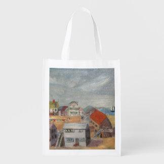 Beach Houses Reusable Grocery Bag