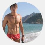 Beach Hunk Classic Round Sticker