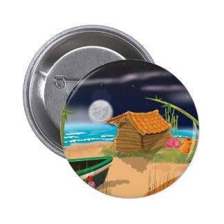 Beach Hut at night 2 Inch Round Button