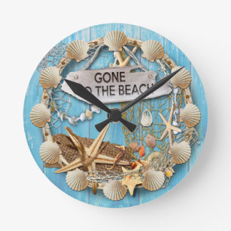 Beach Hut/Beach House Clock, Gone To the Beach Round Clock