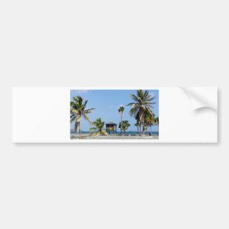 beach hut bumper sticker