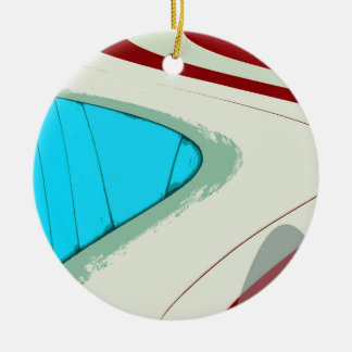 BEACH-HUT DETAIL 16 Double-Sided CERAMIC ROUND CHRISTMAS ORNAMENT