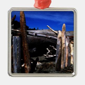 Beach Hut Metal Ornament