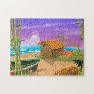"""Beach Hut on moonlit beach"" ""beach hut"" ""cartoon Jigsaw Puzzle"