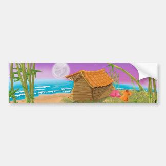 Beach Hut on moonlit beach Bumper Sticker