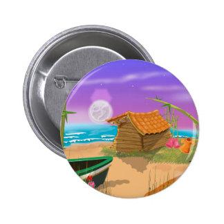 Beach Hut on moonlit beach 2 Inch Round Button