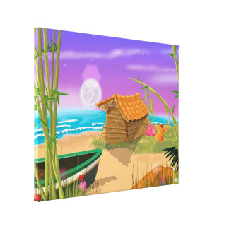 Beach Hut on moonlit beach Canvas Print