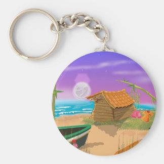Beach Hut on moonlit beach Keychain