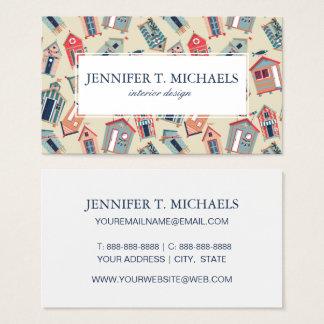 Beach Hut Pattern Business Card