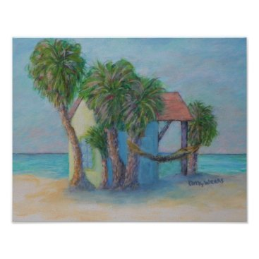 Beach Themed BEACH HUT Poster