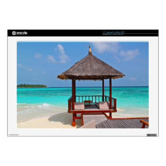 """beach hut tropical paradise peace relax remote 17"""" laptop decal"""