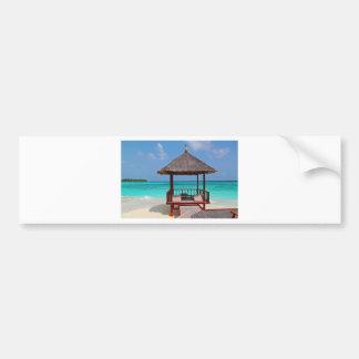beach hut tropical paradise peace relax remote bumper sticker