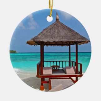 beach hut tropical paradise peace relax remote ceramic ornament