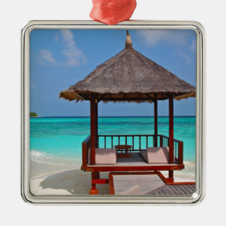 beach hut tropical paradise peace relax remote metal ornament