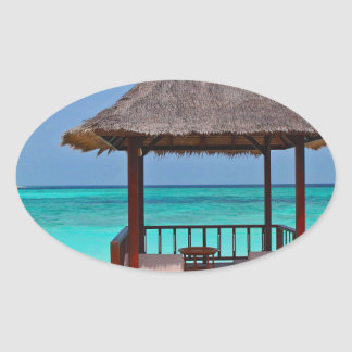 beach hut tropical paradise peace relax remote oval sticker