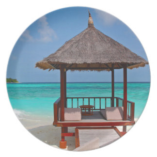 beach hut tropical paradise peace relax remote plate