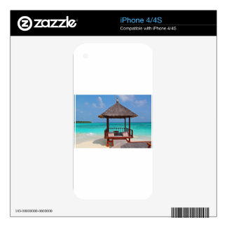beach hut tropical paradise peace relax remote skins for iPhone 4S