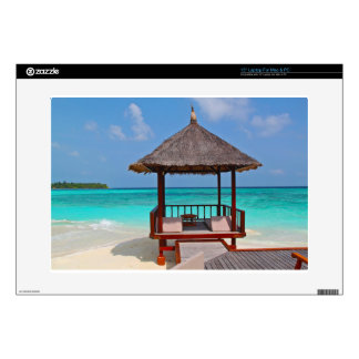 beach hut tropical paradise peace relax remote skins for laptops