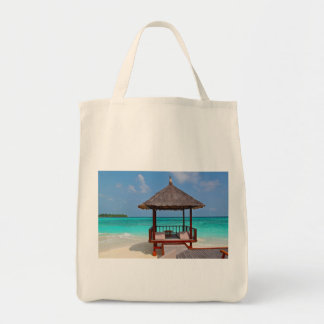 beach hut tropical paradise peace relax remote tote bag
