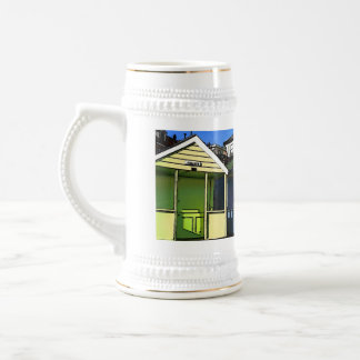 Beach huts and blue skies english seaside photo beer stein