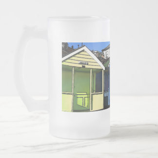 Beach huts and blue skies english seaside photo frosted glass beer mug