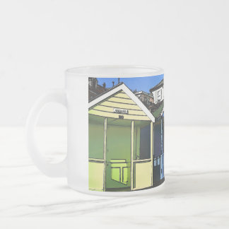 Beach huts and blue skies english seaside photo frosted glass coffee mug