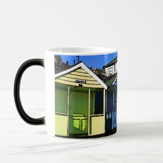 Beach huts and blue skies english seaside photo magic mug