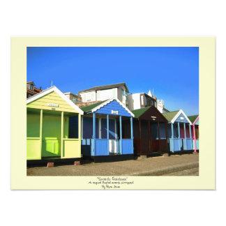 Beach huts and blue skies english seaside photo