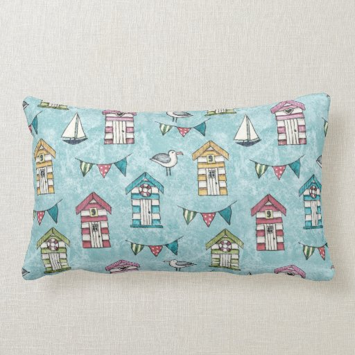Beach Huts and Gulls pattern Throw Pillow