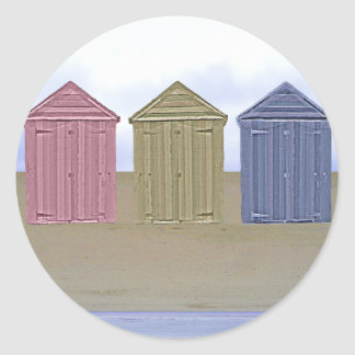 Beach Huts Art Classic Round Sticker