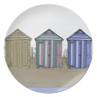 Beach Huts Art Gifts Melamine Plate