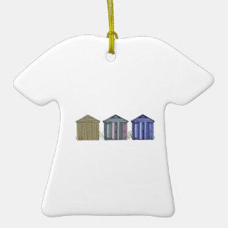 Beach Huts Art Double-Sided T-Shirt Ceramic Christmas Ornament