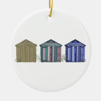 Beach Huts Art Double-Sided Ceramic Round Christmas Ornament