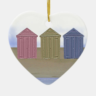 Beach Huts Art Double-Sided Heart Ceramic Christmas Ornament